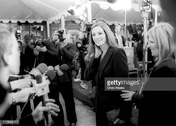 Julia Roberts is interviewed by the media while arriving at the People's Choice Awards January 13 in Pasadena CA
