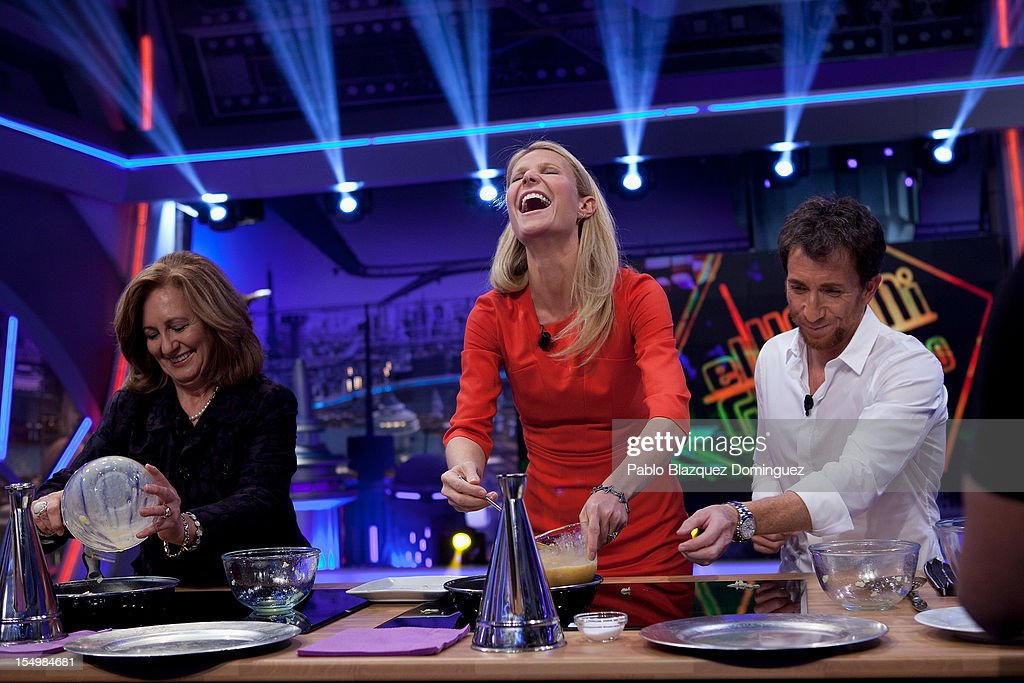 Julia Ruiz, actress Gwyneth Paltrow and Pablo Motos attend 'El Hormiguero' Tv Show at Vertice Studios on October 29, 2012 in Madrid, Spain.