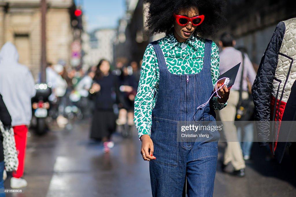 Julia Sarr Jamois before Valentino during the Paris Fashion Week Womenswear Spring/Summer 2016 on Oktober 6 2015 in Paris France