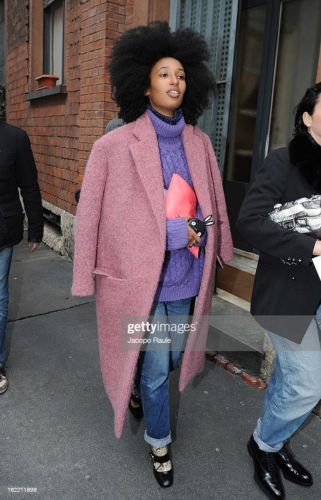 <a gi-track='captionPersonalityLinkClicked' href=/galleries/search?phrase=Julia+Sarr-Jamois&family=editorial&specificpeople=6243924 ng-click='$event.stopPropagation()'>Julia Sarr-Jamois</a> arrives for the Alberta Ferretti show during Milan Fashion Week Womenswear Fall/Winter 2013/14 on February 20, 2013 in Milan, Italy.