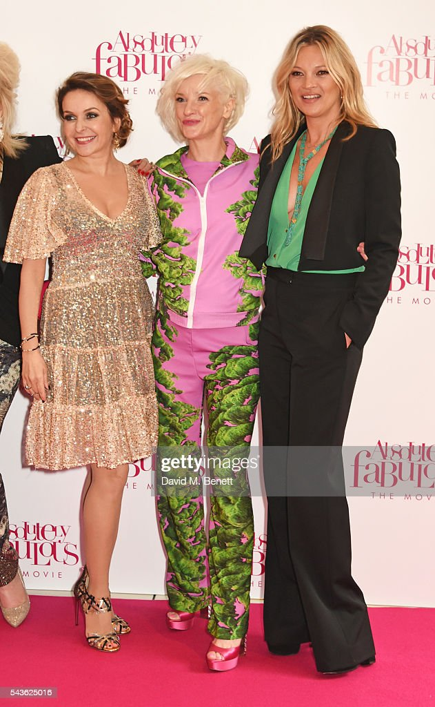 Julia Sawalha, Jane Horrocks and Kate Moss attend the World Premiere of 'Absolutely Fabulous: The Movie' at Odeon Leicester Square on June 29, 2016 in London, England.