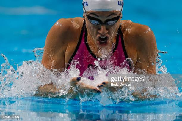 Julia Sebastian of Argentina competes in the Women's 200m Breaststroke final during Maria Lenk Swimming Trophy 2017 Day 5 at Maria Lenk Aquatics...