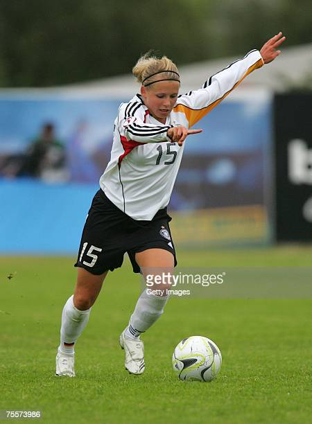 Julia Simic during the Uefa Under 19 Women European Championship match between Germany and Norway at the Fylkisvollur stadium on July 20 2007 in...