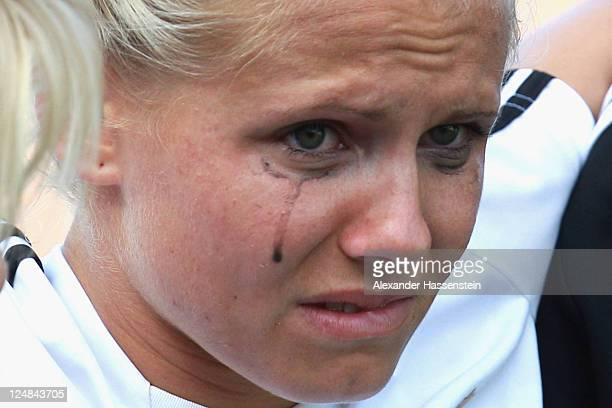 Julia Simic gets injured during a training session after the team presentation of the German Women's national team at Rosenau Stadium on September 13...