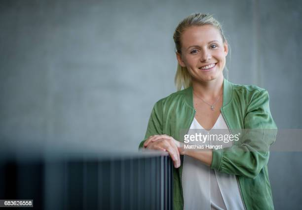 Julia Simic of Germany poses for a portrait during the DFB Ladies Marketing Day at Commerzbank Arena on April 3 2017 in Frankfurt am Main Germany
