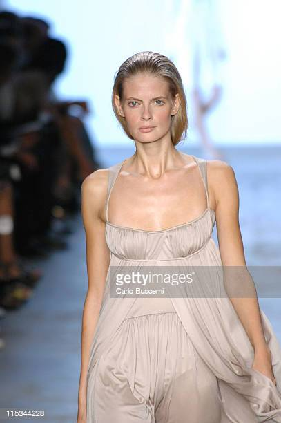 Julia Stegner wearing Calvin Klein Spring 2006 during Olympus Fashion Week Spring 2006 Calvin Klein Runway at Milk Studios in New York City New York...
