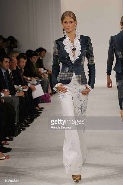 Julia Stegner wearing Ralph Lauren Spring 2006 during Olympus Fashion Week Spring 2006 Ralph Lauren Runway at The Annex in New York City New York...