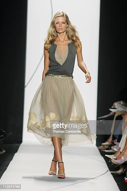 Julia Stegner wearing Vera Wang Spring 2005 during Olympus Fashion Week Spring 2005 Vera Wang Runway at Theater Tent Bryant Park in New York City New...