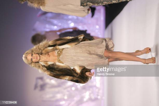 Julia Stegner wearing Zac Posen Fall 2005 during Olympus Fashion Week Fall 2005 Zac Posen Runway at The Tent Bryant Park in New York City New York...