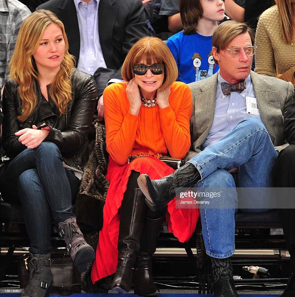 Julia Stiles, Anna Wintour and Shelby Bryan attend the Chicago Bulls VS New York Knicks at Madison Square Garden on February 2, 2012 in New York City.