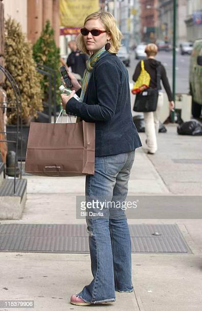 Julia Stiles during Celebrity Sightings at Soho New York in New York City New York United States
