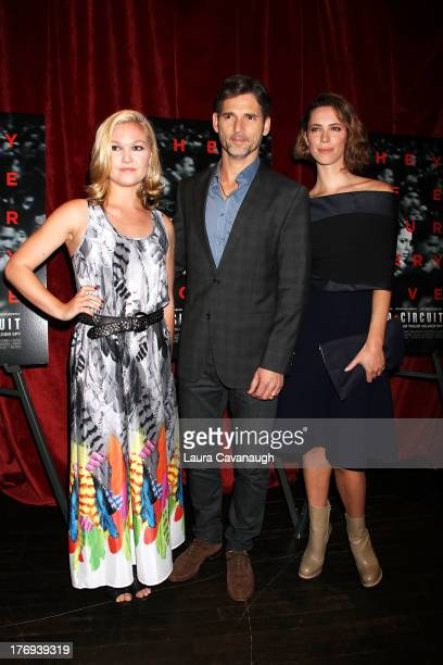 Julia Stiles Eric Bana and Rebecca Hall attend the 'Closed Circuit' screening at the Tribeca Grand Hotel Screening Room on August 19 2013 in New York...