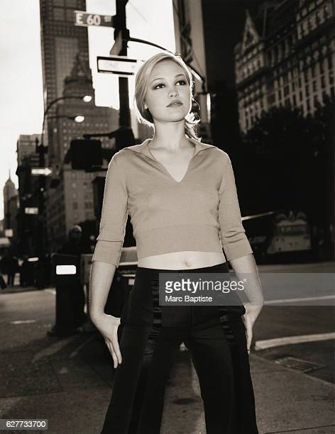 Julia Stiles on a City Sidewalk