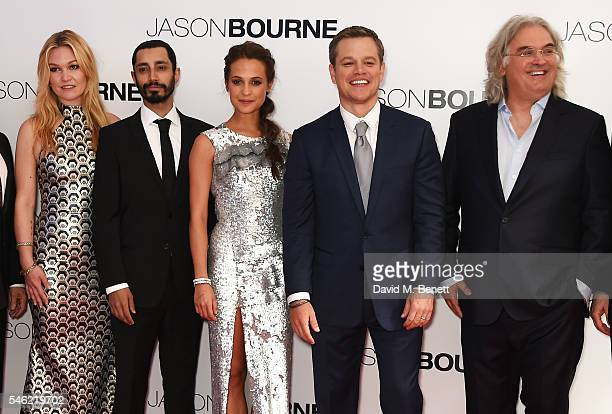 Julia Stiles Riz Ahmed Alicia Vikander Matt Damon and Paul Greengrass arrive for the European Premiere of 'Jason Bourne' at Odeon Leicester Square on...