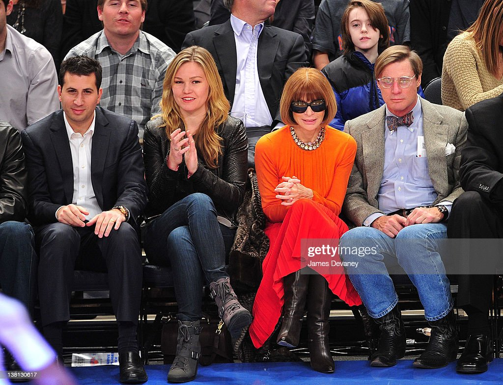 Julia Stiles with guest (L), Anna Wintour and Shelby Bryan attend the Chicago Bulls VS New York Knicks at Madison Square Garden on February 2, 2012 in New York City.