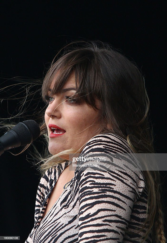 Julia Stone performs at the Heineken Live Stage during day twelve of the 2013 Australian Open at Melbourne Park on January 26, 2013 in Melbourne, Australia.