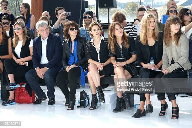 Julia Toledano her father and CEO Dior Sidney Toledano Juliette Binoche Suzanne Clement Keren Ann and Malgosia Bela attend the Maxime Simoens show as...