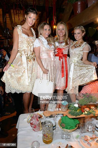 Julia Trainer Alessandra Geissel fashion designer Ophelia Blaimer and Jennifer Knaeble attend the Oktoberfest beer festival at Theresienwiese on...