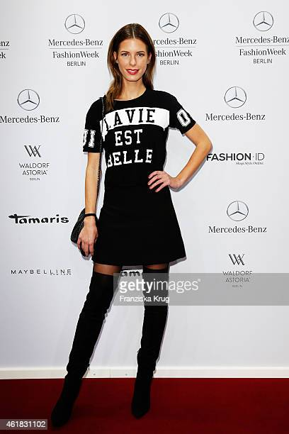 Julia Trainer attends the Marc Cain show during the MercedesBenz Fashion Week Berlin Autumn/Winter 2015/16 at Brandenburg Gate on January 20 2015 in...