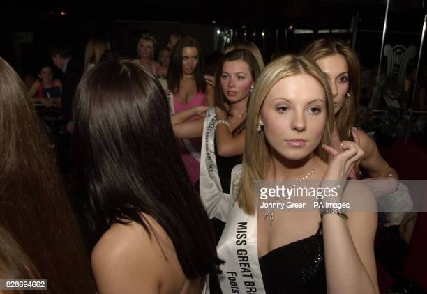 Julia Wood from Jersey joins other young aspiring models as they prepare to go on stage during the Miss Great Britain 2003 event held at Tantra...