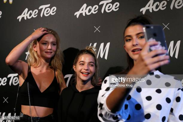 Julia Wulf LisaMarie Koroll and Fata Hasanovic attend the HM Ace Tee showcase on August 16 2017 in Berlin Germany