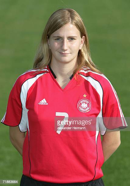 Julia Zirnstein poses during the photo call of the Women Under 17 German National Team on September 14 2006 in Weinheim Germany