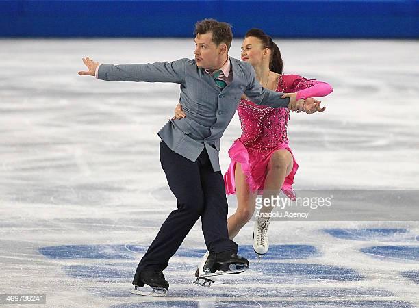 Julia Zlobina and Alexei Sitinikov of Azerbaijan perform during short dance performing at Iceberg Skating Palace during the Sochi 2014 Winter...