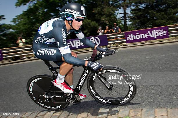 Julian Alaphilippe of France and Team Omega Pharma QuickStep in action during the first stage an individual time trial of the Criterium du Dauphine...