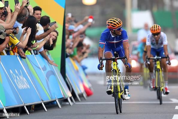 Julian Alaphilippe of France reacts after finishing fourth in the Men's Road Race on Day 1 of the Rio 2016 Olympic Games at the Fort Copacabana on...