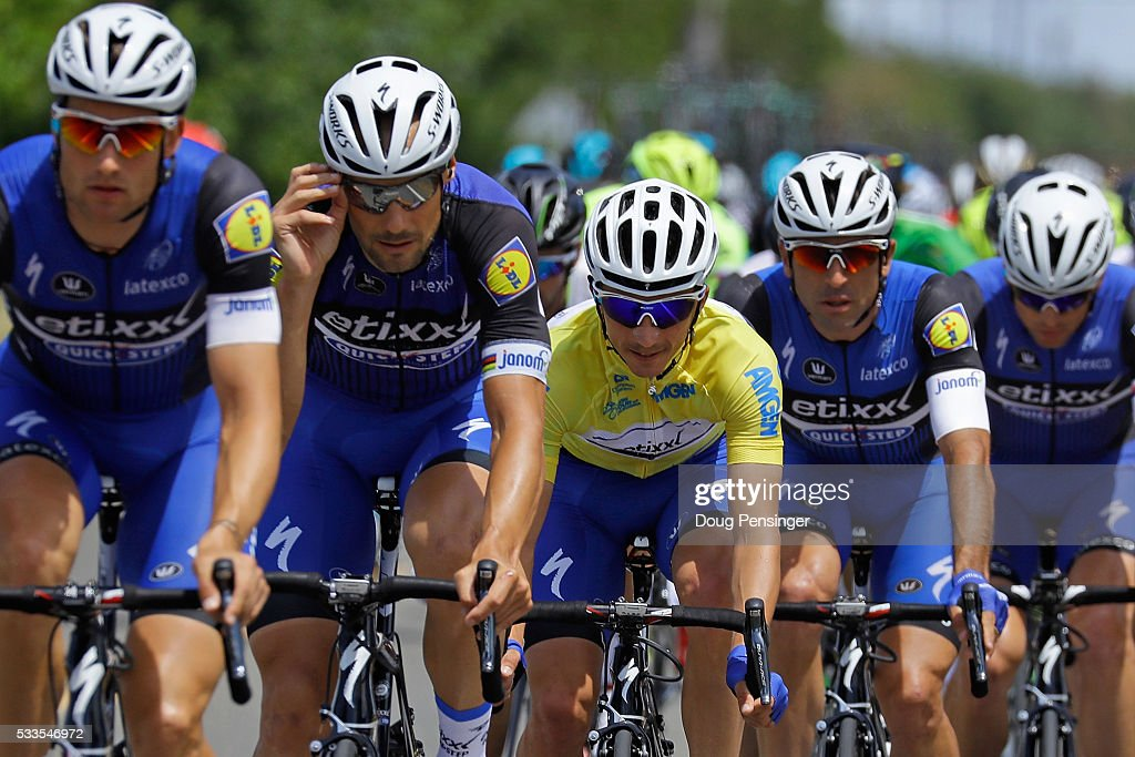 <a gi-track='captionPersonalityLinkClicked' href=/galleries/search?phrase=Julian+Alaphilippe&family=editorial&specificpeople=6715631 ng-click='$event.stopPropagation()'>Julian Alaphilippe</a> (C) of France riding for Etixx - Quick-Step defends the overall race leader's yellow jersey as he rides in the protection of his teammates including <a gi-track='captionPersonalityLinkClicked' href=/galleries/search?phrase=Tom+Boonen&family=editorial&specificpeople=221255 ng-click='$event.stopPropagation()'>Tom Boonen</a> (2L) of Belgium in stage eight as he wins the general classification in the 2016 Amgen Tour of California on May 22, 2016 in Sacramento, California.