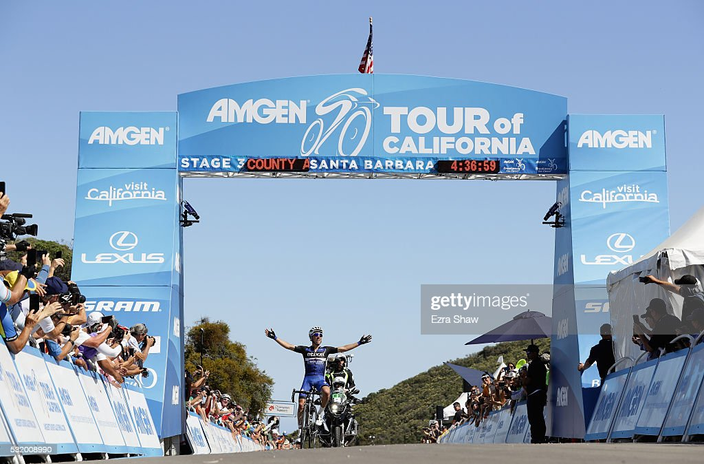 Julian Alphilippe of France riding for Etixx-Quick-Step celebrates as he crosses the finish line to win Stage 3 of the Amgen Tour of California on May 17, 2016 in Santa Barbara, California.