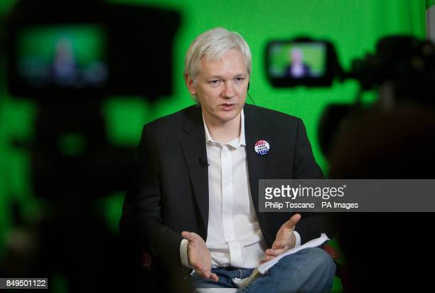 Julian Assange addresses the Oxford Union via videolink from the Ecuadorian Embassy in London