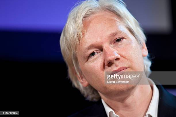 Julian Assange editor in chief of WikiLeaks attends the Hay Festival on June 4 2011 in HayonWye Wales