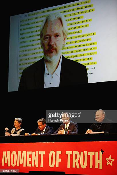 Julian Assange Internet Party leader Laila Harre Robert Amsterdam Glenn Greenwald and Kim Dotcom discuss the revelations about New Zealand's mass...