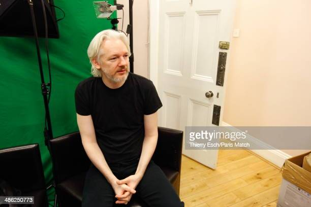 Julian Assange the creator of WikiLeaks and refugee since June 2012 at the Embassy of Ecuador is photographed for Paris Match on March 28 2014 in...