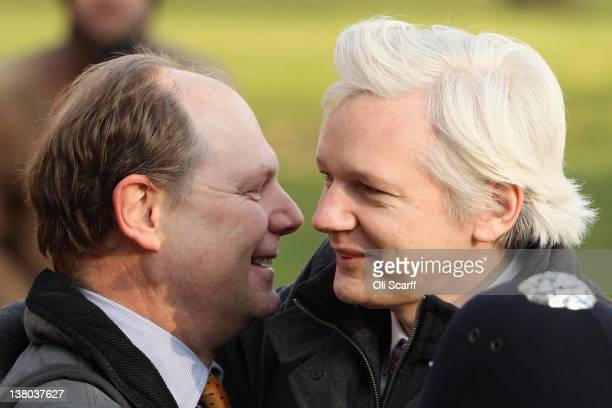 Julian Assange the founder of the WikiLeaks whistlebowing website embraces Vaughan Smith the founder of the Frontline Club who has personally stood...