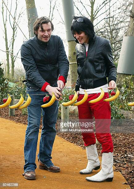 Julian Barratt and Noel Fielding of comic duo The Mighty Boosh launch the new walkthrough monkey enclosure with the help of its resident squirrel...