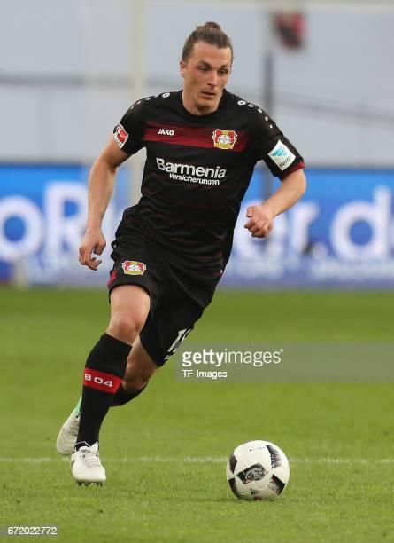 Julian Baumgartlinger of Leverkusen controls the ball during the Bundesliga match between Bayer 04 Leverkusen and Bayern Muenchen at BayArena on...