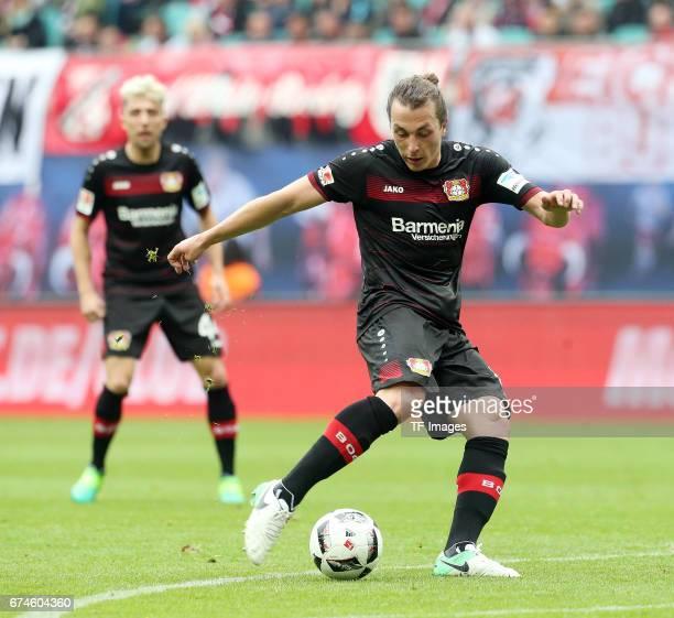 Julian Baumgartlinger of Leverkusen in action during the Bundesliga match between RB Leipzig and Bayer 04 Leverkusen at Red Bull Arena on April 8...
