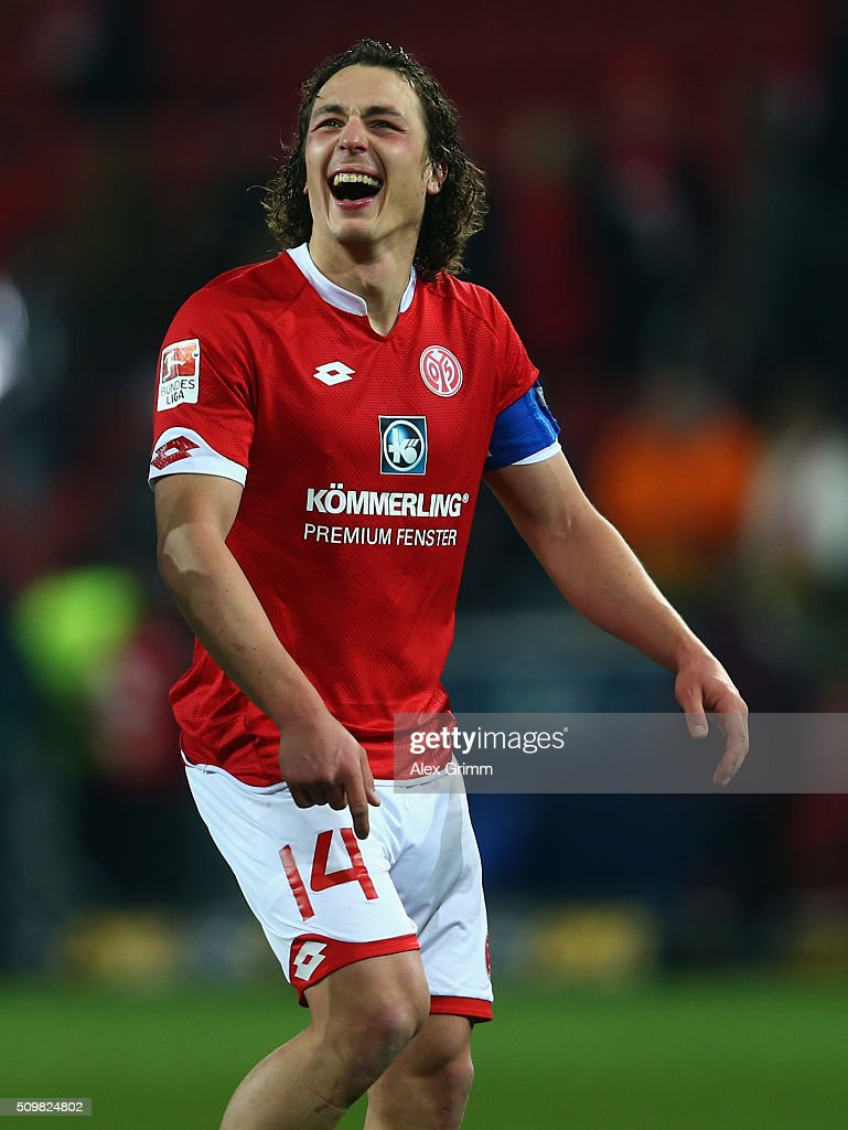 <a gi-track='captionPersonalityLinkClicked' href=/galleries/search?phrase=Julian+Baumgartlinger&family=editorial&specificpeople=4228877 ng-click='$event.stopPropagation()'>Julian Baumgartlinger</a> of Mainz laughs after the Bundesliga match between 1. FSV Mainz 05 and FC Schalke 04 at Coface Arena on February 12, 2016 in Mainz, Germany.