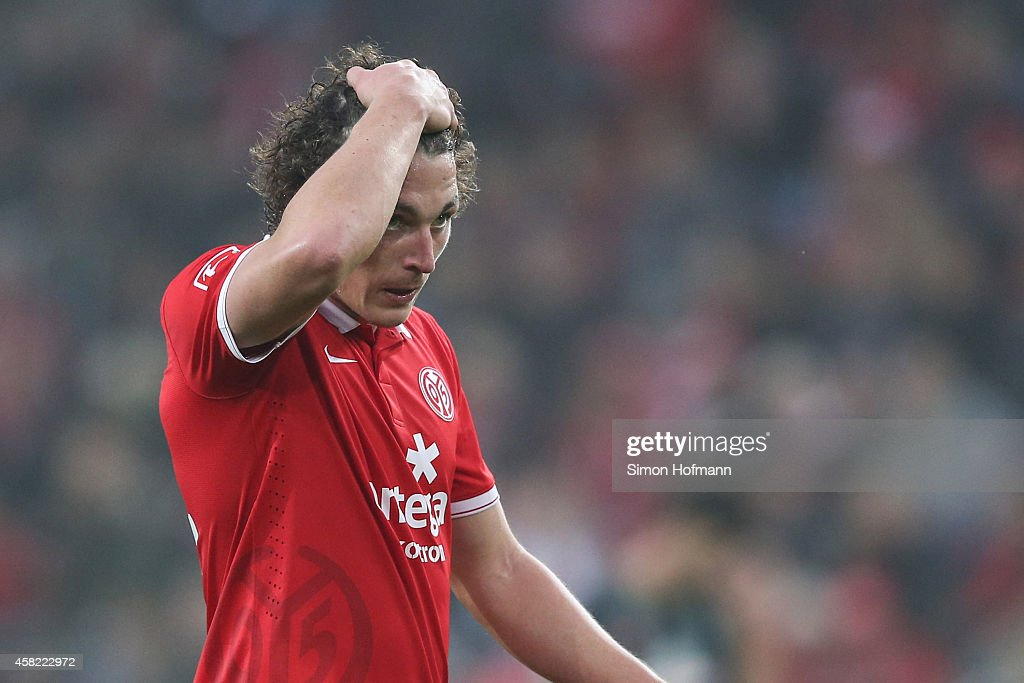 <a gi-track='captionPersonalityLinkClicked' href=/galleries/search?phrase=Julian+Baumgartlinger&family=editorial&specificpeople=4228877 ng-click='$event.stopPropagation()'>Julian Baumgartlinger</a> of Mainz reacts during the Bundesliga match between 1. FSV Mainz 05 and SV Werder Bremen at Coface Arena on November 1, 2014 in Mainz, Germany.