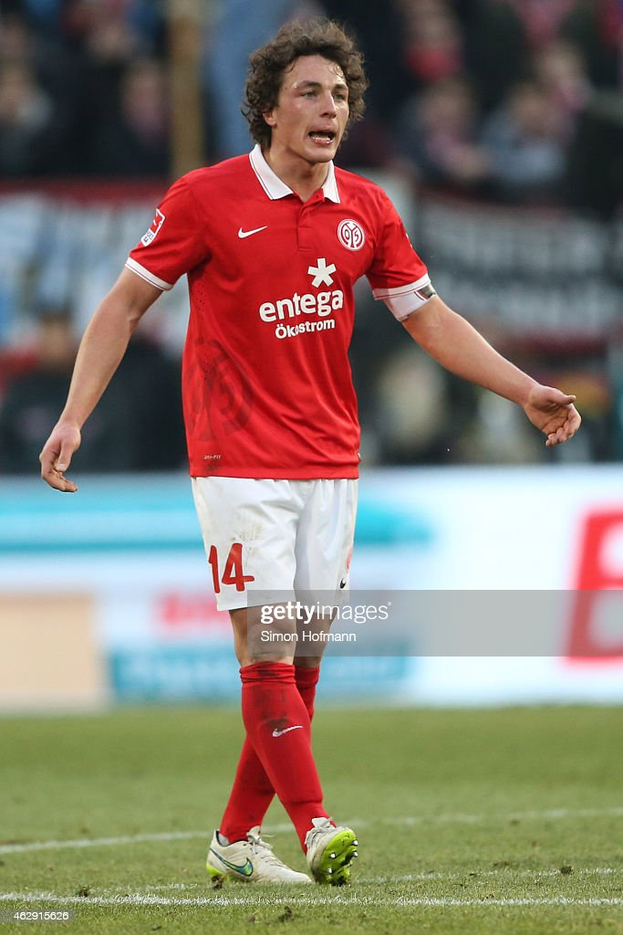 <a gi-track='captionPersonalityLinkClicked' href=/galleries/search?phrase=Julian+Baumgartlinger&family=editorial&specificpeople=4228877 ng-click='$event.stopPropagation()'>Julian Baumgartlinger</a> of Mainz reacts during the Bundesliga match between 1. FSV Mainz 05 and Hertha BSC at Coface Arena on February 7, 2015 in Mainz, Germany.