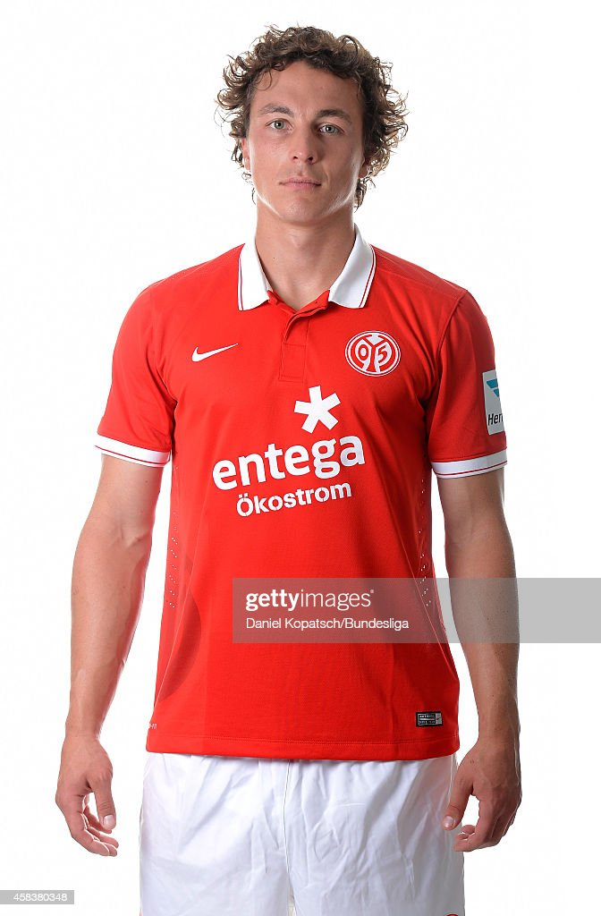 <a gi-track='captionPersonalityLinkClicked' href=/galleries/search?phrase=Julian+Baumgartlinger&family=editorial&specificpeople=4228877 ng-click='$event.stopPropagation()'>Julian Baumgartlinger</a> poses during the DFL Media Day of 1. FSV Mainz 05 at Coface Arena on July 18, 2014 in Mainz, Germany.