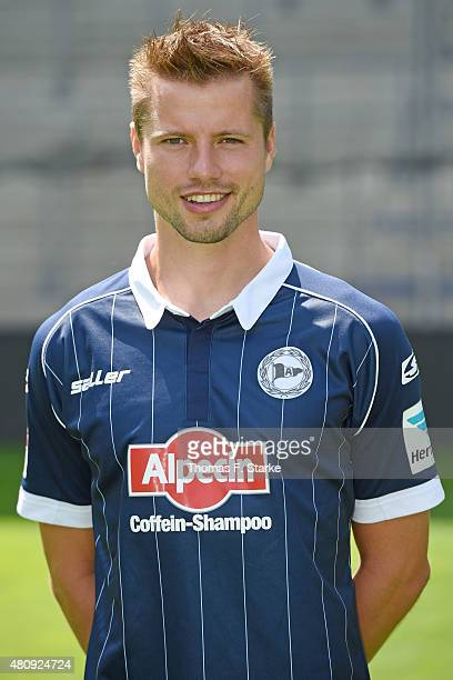 Julian Boerner poses during the Second Bundesliga team presentation of Arminia Bielefeld at Schueco Arena on July 16 2015 in Bielefeld Germany