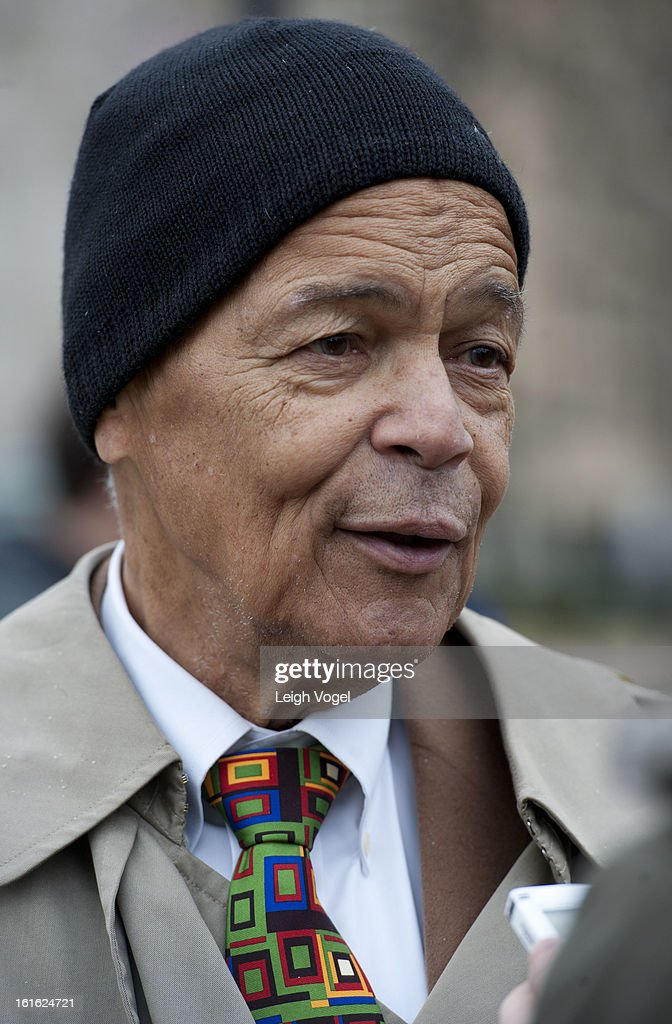 Julian Bond protests against Keystone XL Pipeline at Lafayette Park on February 13, 2013 in Washington, DC.
