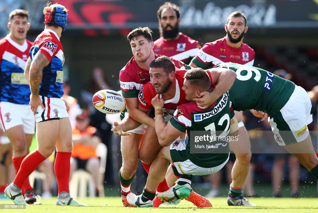 Julian Bousquet of France offloads during the 2017 Rugby League World Cup match between France and Lebanon at Canberra Stadium on October 29, 2017 in Canberra, Australia.