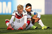 Julian Brandt and Kevin Akpoguma both of Germany react after the penalty shoot out during the FIFA U20 World Cup New Zealand 2015 Quarter Final match...