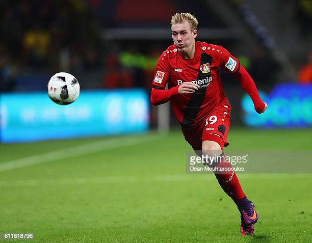 Julian Brandt of Bayer 04 Leverkusen in action during the Bundesliga match between Bayer 04 Leverkusen and Borussia Dortmund at BayArena on October 1...