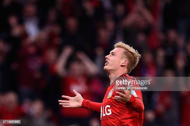 Julian Brandt of Bayer Leverkusen celebrates as he scores the second goal during the Bundesliga match between Bayer 04 Leverkusen and FC Bayern...