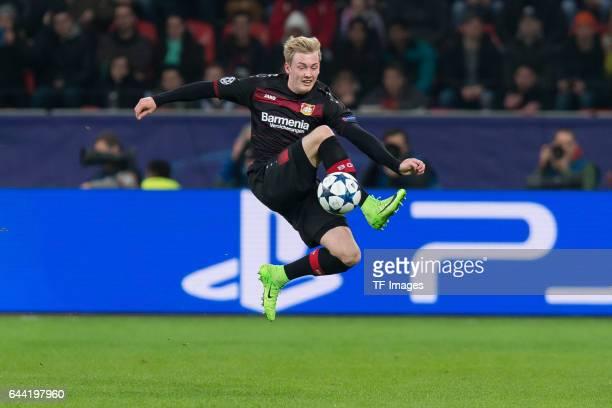 Julian Brandt of Bayer Leverkusen controls the ball during the UEFA Champions League Round of 16 first leg match between Bayer Leverkusen and Club...